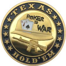 "Pokerguard Poker Card Guard ""Poker is War"" echt vergoldet, Pokerzubehör"