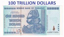 Zimbabwe 100 TRILLION 100000000000000 Trillions Dollars 2008 AA P# 91 UNC 8657