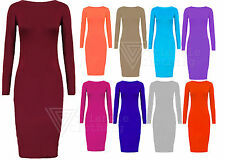 Patternless Long Sleeve Stretch, Bodycon Casual Dresses
