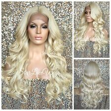 Lace Front Wig Platinum Blonde Long Curly Layers Middle Part Heat Safe