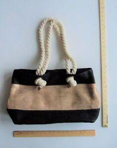 Olivia Miller BLACK GOLD Tote Purse Hand Bag Straw ROPE Handles - FLASH SALE