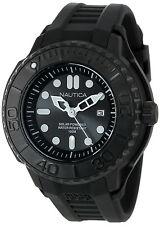 Nautica N28509G Round Stealth Black Solar Rugged Men's Sport Watch Rubber Strap