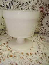 7 WHITE MILK GLASS FOOTED SHERBET DESSERT DISHES RAISED GRAPES VINES LEAVES