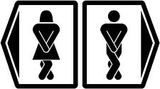 Toilet Pictogram Decal, washroom restroom decals stickers, funny decal