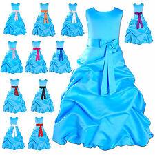 Blau Satin Blumenkind Party Kleid Brautjungfer 1 Sich 13 Jahr 12 Farbe Schärpe