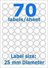 Round Sticky A4 Printer Circle 70 Labels 25 mm Diameter 100 sheets self adhesive