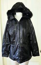 Penmans Hooded Faux Fur/Leather Vinyl  jacket Coat Womens S Removeable Hood