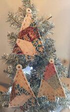 Handmade Antique Vtg Patchwork Quilt Christmas Tree Ornaments Set Of 3 Blue Prim
