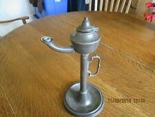 Original Rare Early 18th Century Pewter Whale Oil Lamp