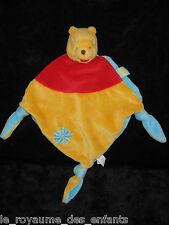 Doudou plat losange Winnie l'Ourson jaune bleu rouge Disney Baby Nicotoy 39 cm