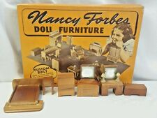 Nancy Forbes Doll Furniture No. 172 Bedroom Set w Box 8 pcs Walnut Finish 1940s