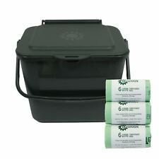 5L Green Kitchen Compost Caddy/Food Waste Bin & 150 x 6 Litre Compostable Bags