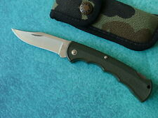 BUCK USA 422 Bucklite Lockback Knife 1993 Green Fine Edge Clip Point Camo Sheath