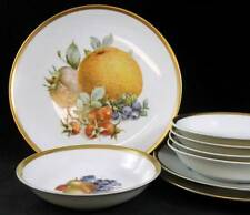 Jaeger ORCHARD 5 Fruit/Desserts + 3 Salad Plates Coupe Gold Trim GREAT CONDITION