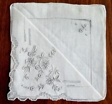 Vintage 1920-1940s Wedding Hanky Never Used New Old Stock White & Gray Embroider