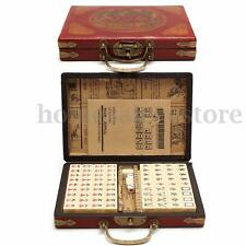Portable Mahjong Box Rare Chinese 144 Tiles Mah-Jong Set In Leather Box 1pcs