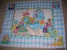 Quilt Top Baby Panel-Garden Bunnies-100% Cotton Fabric-45x36