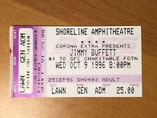 1996 Jimmy Buffett And The Coral Reefer Band Shoreline, Ca, Concert Ticket Stub
