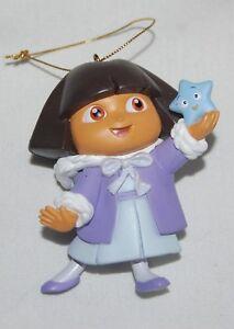 """Vtg Dora Explorer Christmas Tree Ornament Resin 4"""" Lavender Dress Present Bow"""