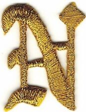 "1 1/8"" Fancy Metallic Gold Old English Alphabet Letter N Embroidered Patch"