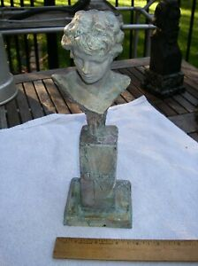 Fine MICHEL LEVY French CIRCE Bust TABLE BRONZE SCULPTURE-11 of 50-dated 1990