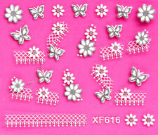 Nail Art 3D Decal Stickers Silver Flowers & Butterfly with Lace Strip XF616