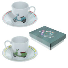 Set Of 2 Espresso Cups And Saucer Scooter Design A Great Gift Nicely Boxed .