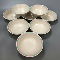 Set of 8 Corelle Corning FOREVER YOURS Pink/Green Striped Soup Salad Bowls #1 AA