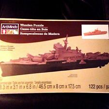 Wooden 3D Puzzle 122 Piece MILITARY CRUISER by Artminds NEW Sealed