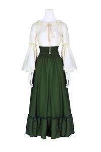 Clearance Women Vintage Dress Costume Cotton Renaissance Long Dress White