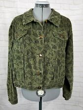 Kiko Comfortable Clothing Short Bomber Jacket Corduroy Green Casual Button Up
