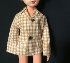 """MEGO brown gingham check jacket top long sleeve fit11"""" 12"""" fashion doll 1:6"""