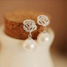 Luxury Women Rose Flower Pearl Eardrop Ear Studs Earrings Wedding Jewelry Gift