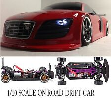 1/10 Scale AUDI R8  RTR Custom RC Drift -Cars  2.4Ghz & Charger RED
