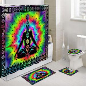 Practicing Yoga Posture Shower Curtain Toilet Cover Rug Mat Contour Rug Set
