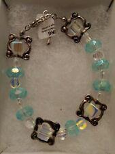 "Handmade 7"" Bracelet Glass Aquamarine w/ Irridescent square & spacer"