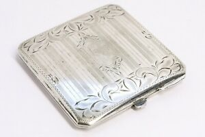 Birks Sterling Silver Compact Art Deco Engraved Decoration Powder Mirror Elegant
