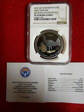 Kyrgyzstan 2015 Bustard NGC PF70 . w/COA .999 gold plated .925 silver coin pop 1