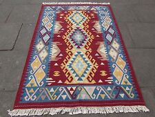 Old Traditional Hand Made Oriental Indian Kilim Red Blue Wool Kilim 194x141cm