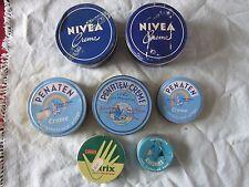 vintage tin can advertisiNivea,Penaten-creme ,quickies,atrix (wien,Hamburg)