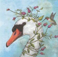 2 Serviettes en papier Cygne Colibri Oiseau - Paper Napkins Iris & Stanley