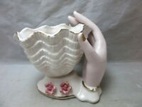Vintage 1950's pink ladies hand porcelain trinket dish