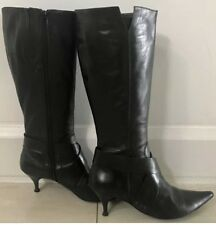 Retro  GALLORINI Black Leather Knee High Boots w 6.5cm Kitten Heels Size 37