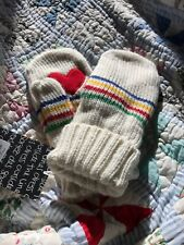 New W/Tags Adult L/XL Unisex Hudson's Bay Company Stripes Mittens With Hearts