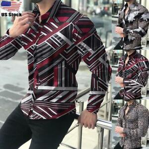 Mens Casual Printed Shirt Slim Fit Formal Shirts Long Sleeve Button Down Tops