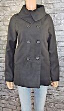 Womens Elegant Black Button Fastening Collar Wool Style Swing Coat Size 14