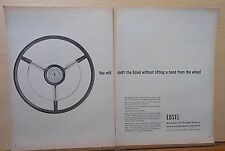 1957 two page magazine ad for Ford, Edsel steering wheel, drive selector buttons