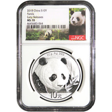2018 10 Yuan Silver China Panda NGC MS70 Panda ER Label