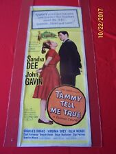 TAMMY TELL ME TRUE 1961 Orig Insert Movie Poster Comedy Sandra Dee & John Gavin