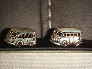 VW CAMPER VAN CUFFLINKS by ONYX ART LONDON - BOXED - EXCELLENT - WEDDING FATHERS